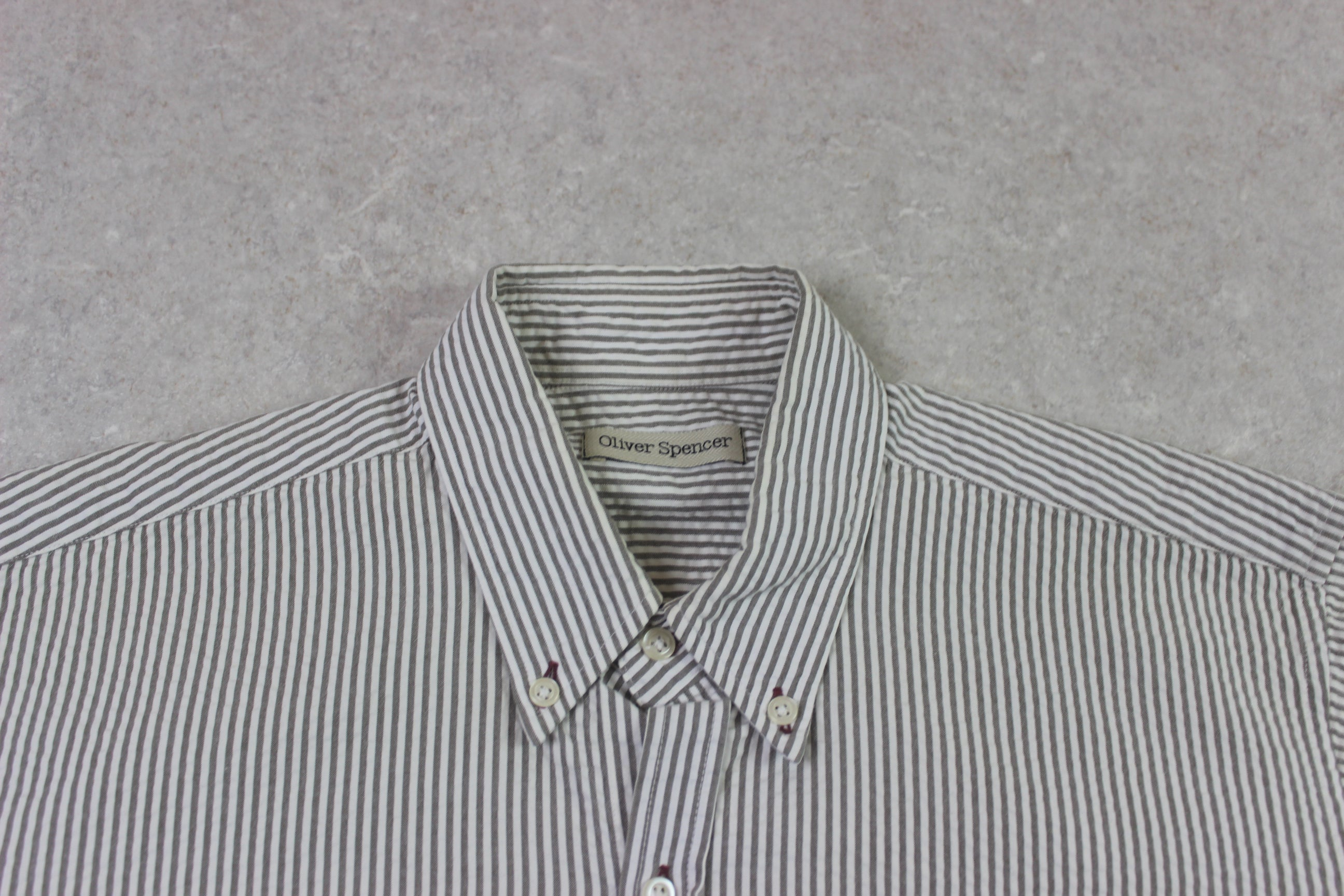 Oliver Spencer - Seersucker Shirt - Grey/White Stripe - 15.5/Medium