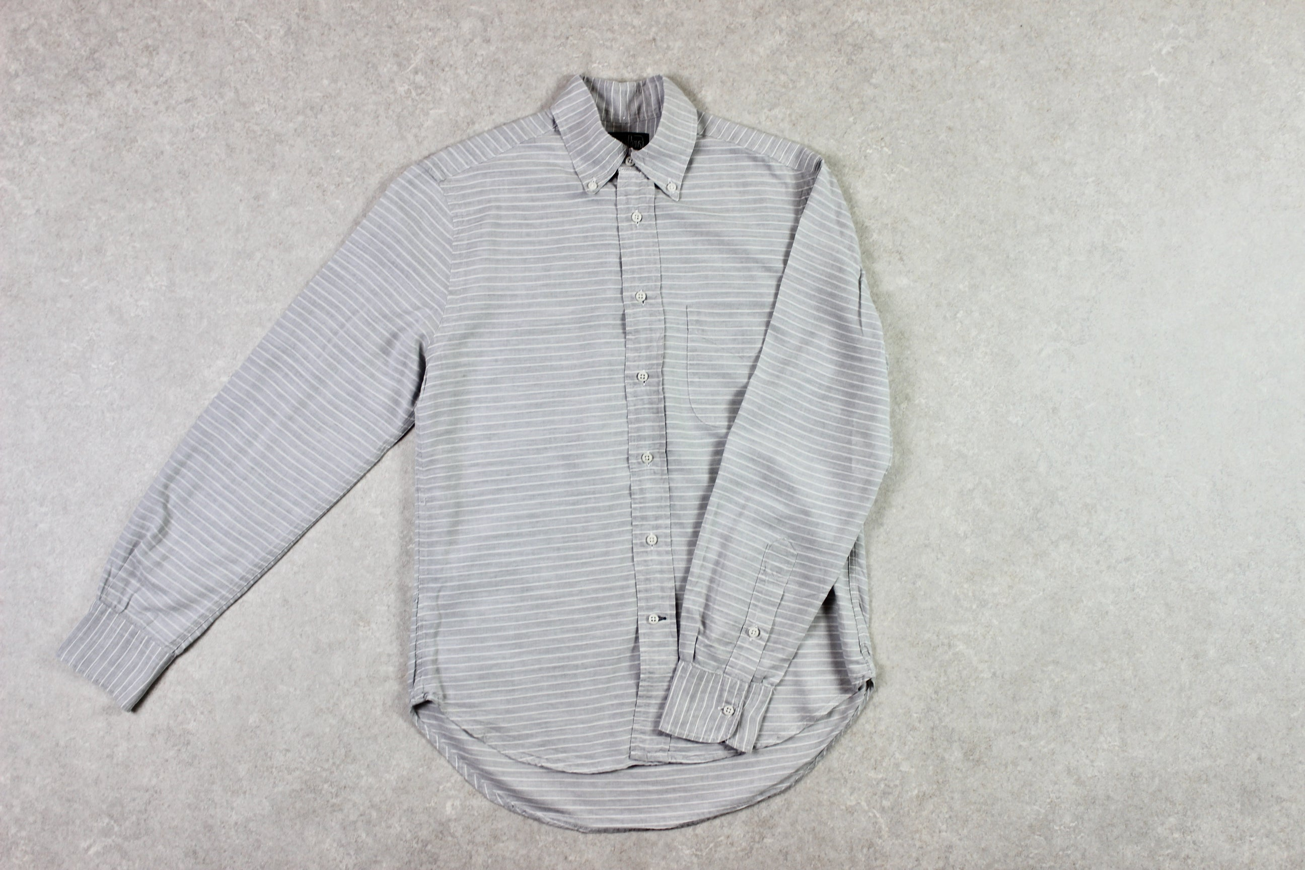 Gitman Bros Vintage - Shirt - Grey/White Stripe - Small