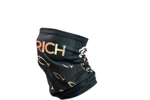 Side view of black gaiter mask showing front and back having large logo over nose and large fish from logo pointing towards it