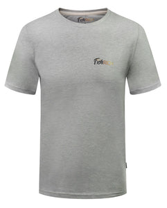 Front view of grey tee  with small logo over heart area