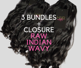 3 BUNDLES + CLOSURE RAW INDIAN WAVY