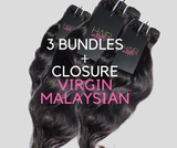 3 BUNDLES + CLOSURE VIRGIN MALAYSIAN NATURAL WAVY