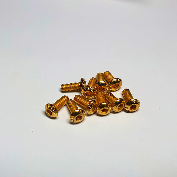 YFS Steel hex button screw (Titanium coated) M3 x 8mm