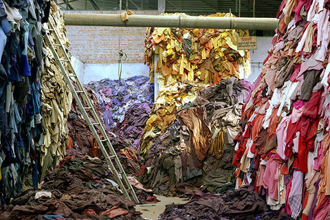 Piles of excess produced garment pieces