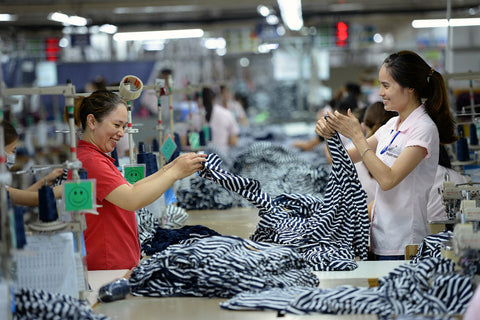 happy textile workers
