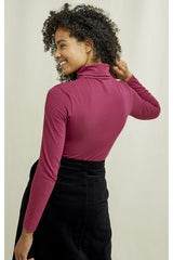 Roll neck long-sleeve jersey top in berry shade, made from organic Fairtrade certified cotton in jersey finish