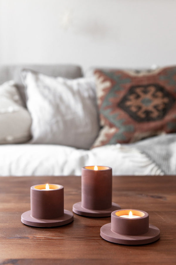 Portia Tealight Holder (3x) - Maroon Brown