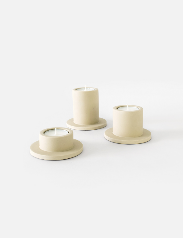 Portia Tealight Holder (3x) - Sandy Beige
