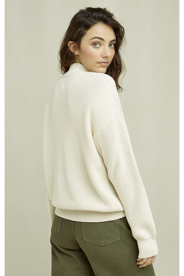 luxurious sweater made from 100% Fairtrade organic cotton in cream, offwhite color