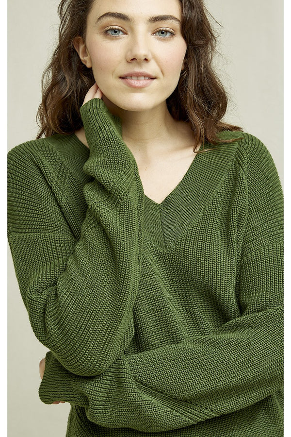 comfy and V-neck waffle knit jumper made from 100% Fairtrade organic cotton in green color