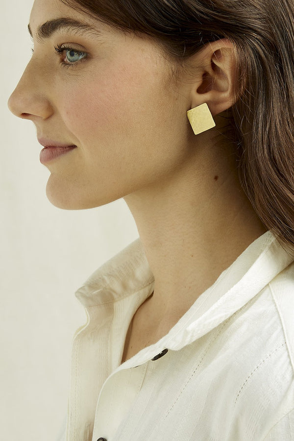 Hand Made and Fair Trade brass square stud earrings from People Tree. Nickel free