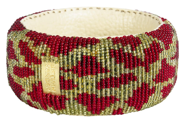 Bracelet - Beaded  broad (Green/Red)