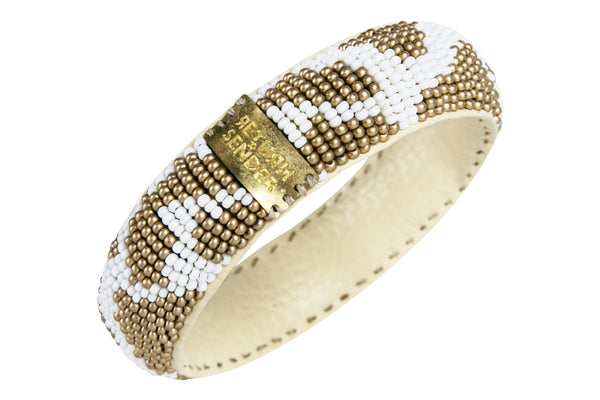 Bracelet - Beaded slim (White/gold)