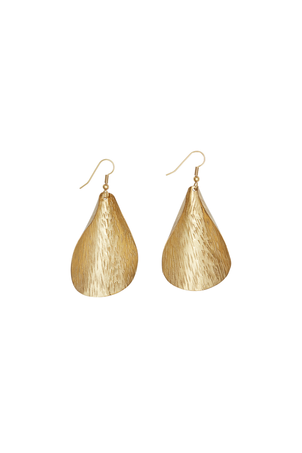 Hand Made and Fair Trade brass curled leaf earrings from People Tree. Nickel free