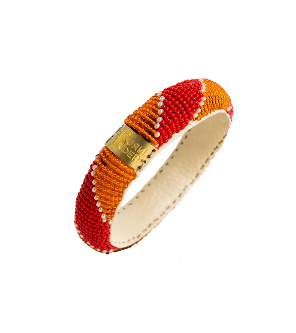 Bracelet - Beaded slim (Orange/pink)