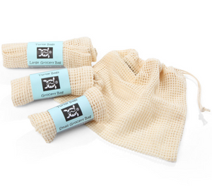 Set of Organic Cotton Mesh Grocery Bags - Refill Mill