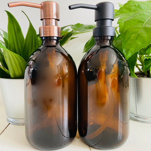 Amber Glass Bottle with Stainless Steel Pump - Refill Mill