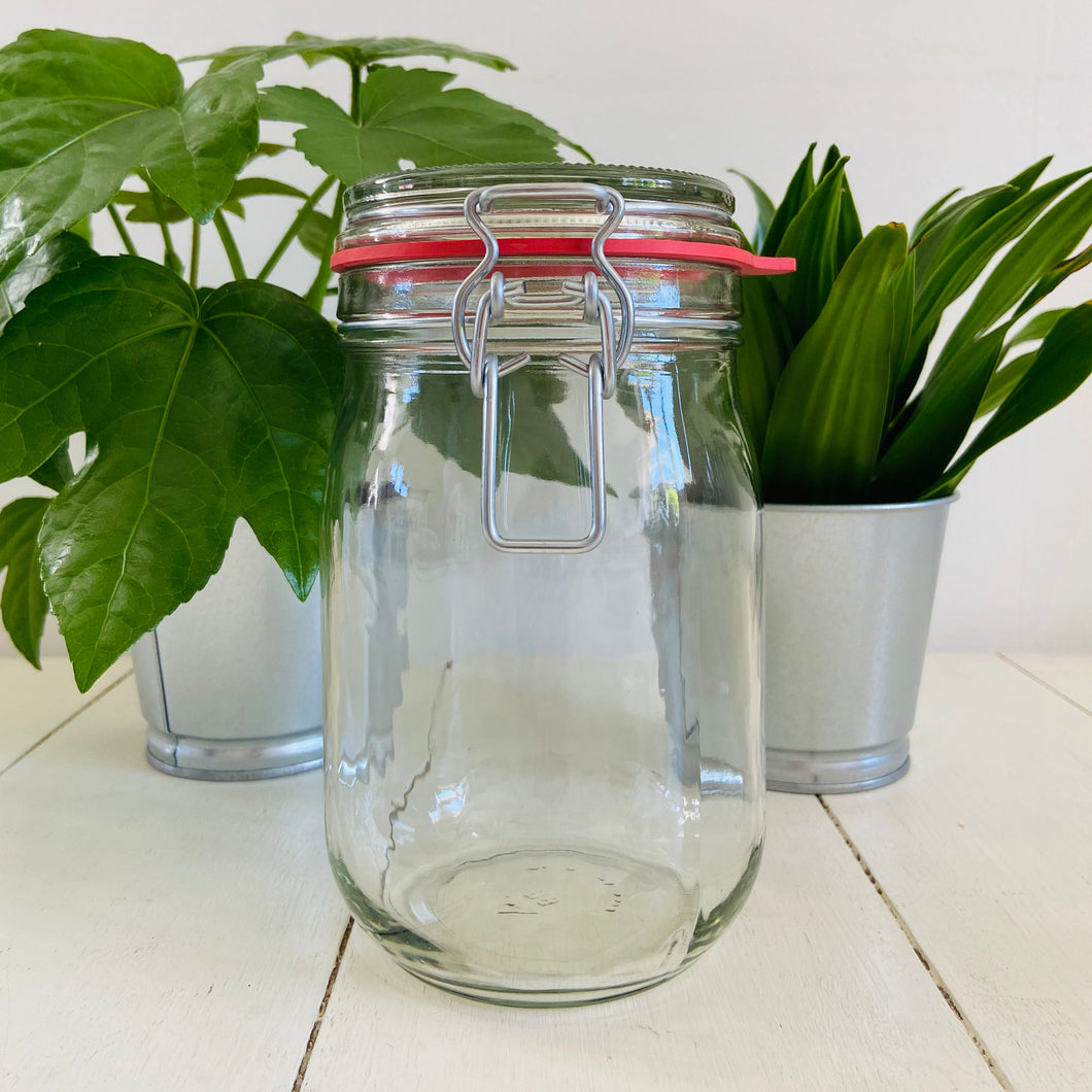 Glass Jar with Clip Top Lid - 1L - Refill Mill