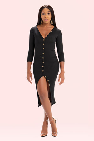 Boss Up Button Down Dress (Black)