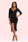 PLUS SIZE Boss Up Button Down Dress (Black)