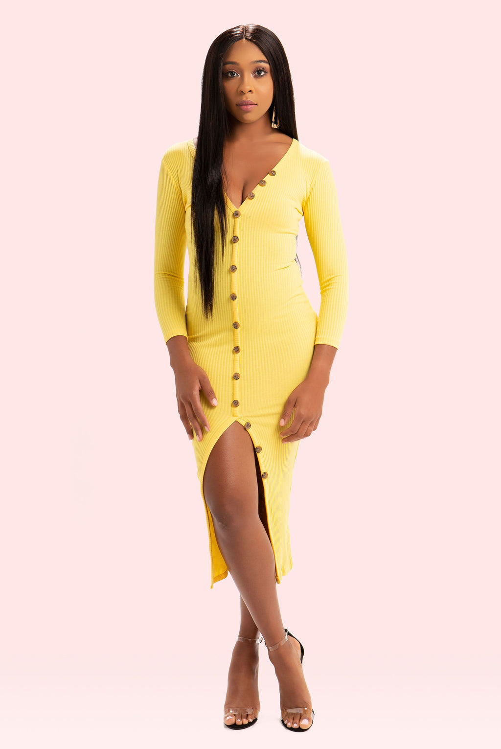Boss Up Button Down Dress (Yellow)