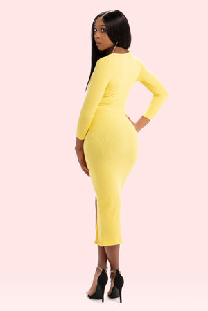 PLUS SIZE Boss Up Button Down Dress (Yellow)