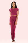 Comfy Wine High Waist Pant Set