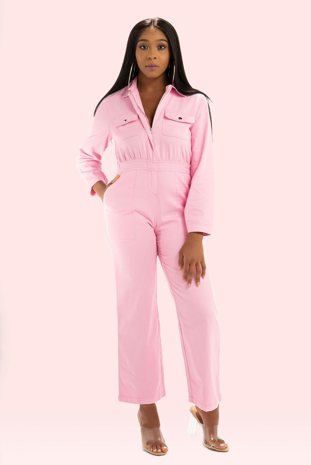 Pink Denim Jumpsuit