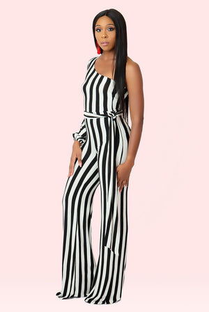 Striped One Sleeve Jumpsuit