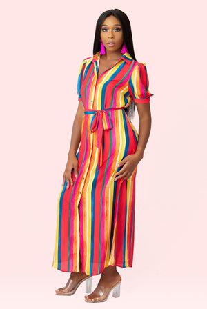Colorful Tie Long Dress
