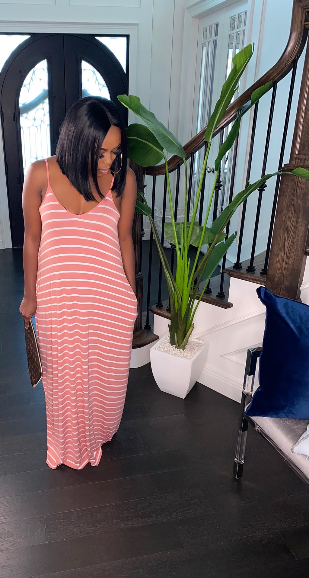 PLUS SIZE Forever Striped Maxi Dress (Coral)