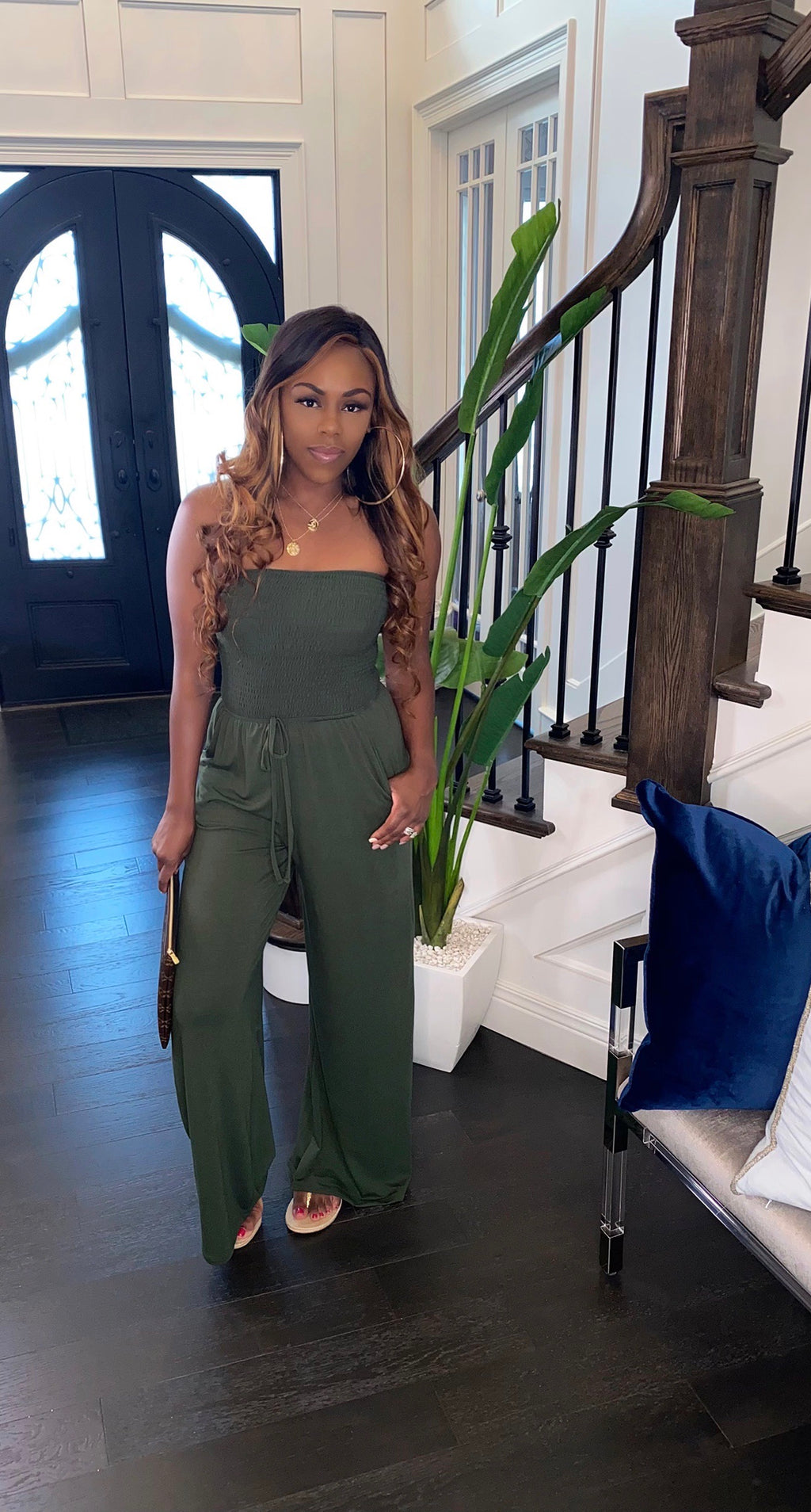 NEW Candy Girl Jumpsuit (Olive)