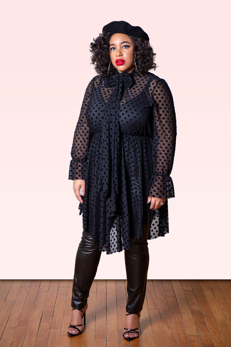 Sheer Polka Dot Tunic (Plus)