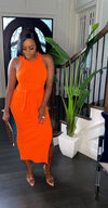 Orange Knit Tie Dress