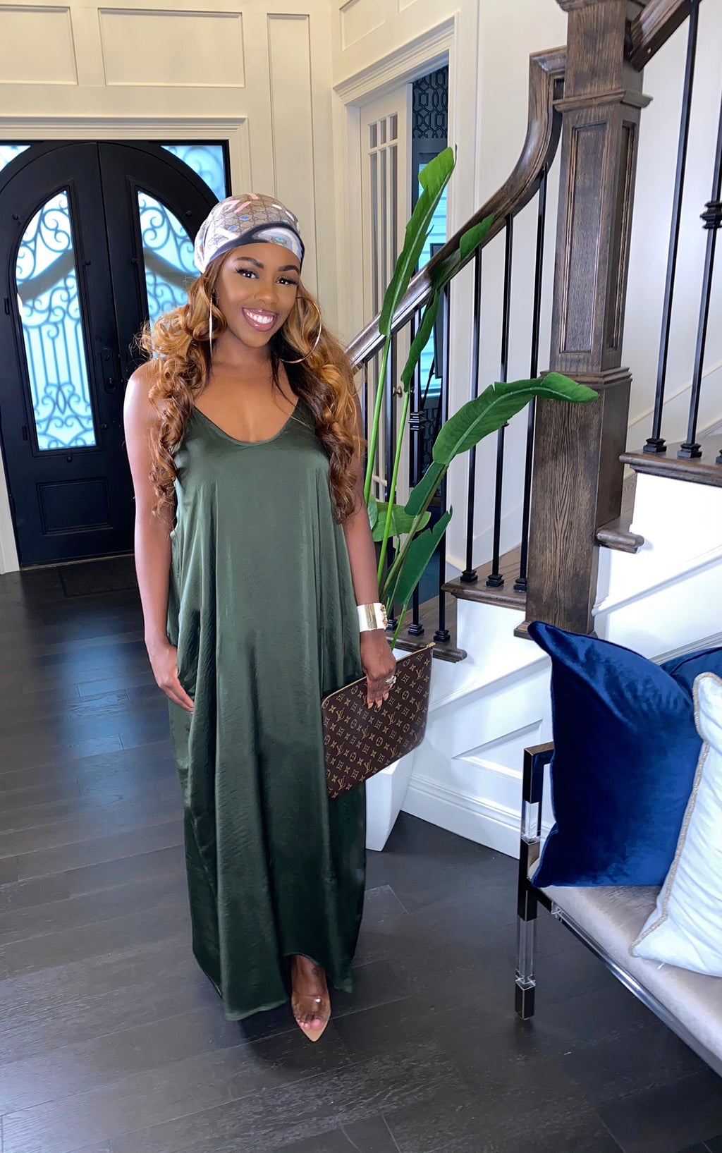 Satin Hi-Low Maxi Dress (Olive)