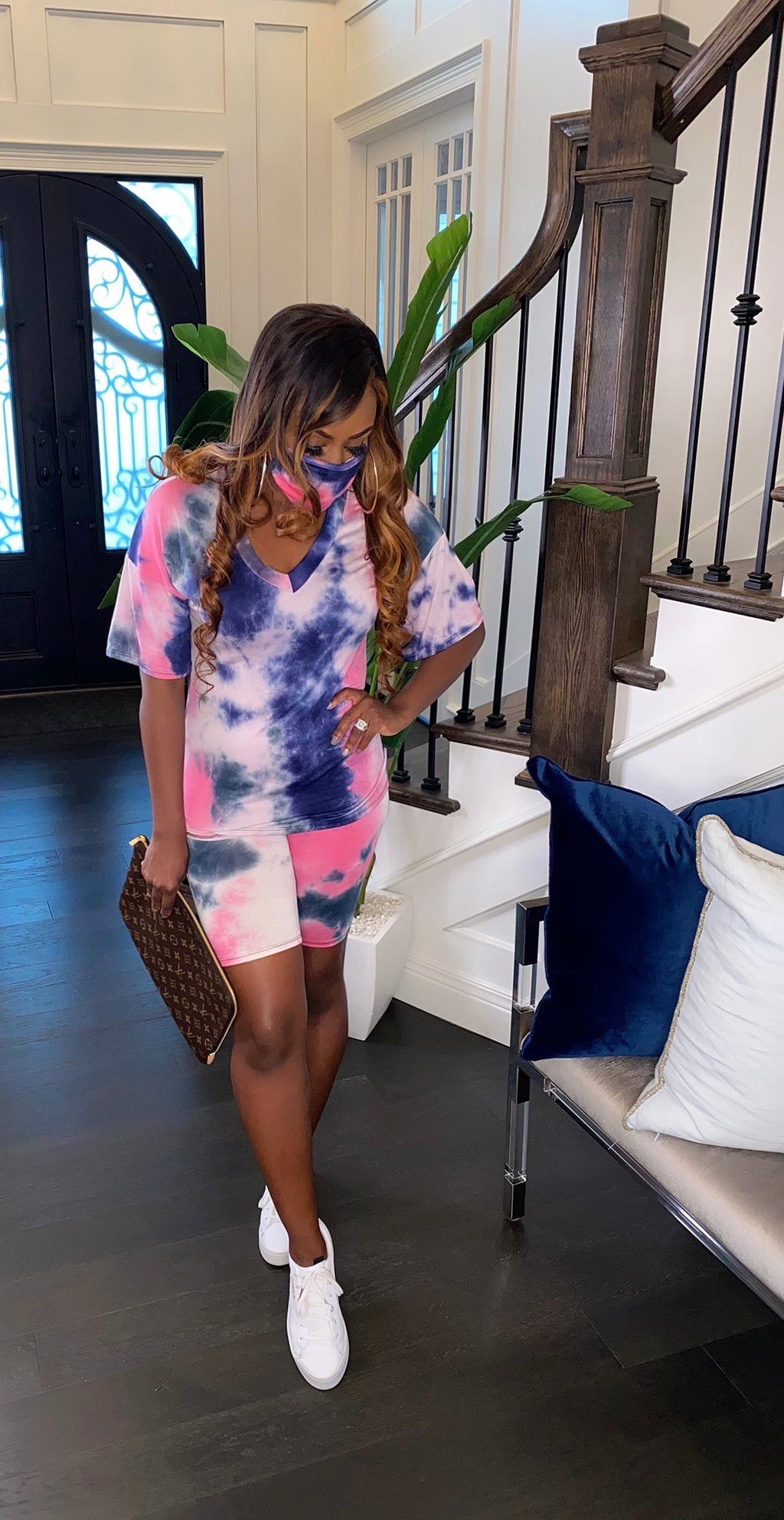 3-Piece Tie Dye Basic Short Set (Pink/Blue)
