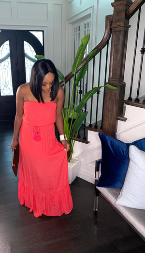 Coral Breeze Maxi Dress