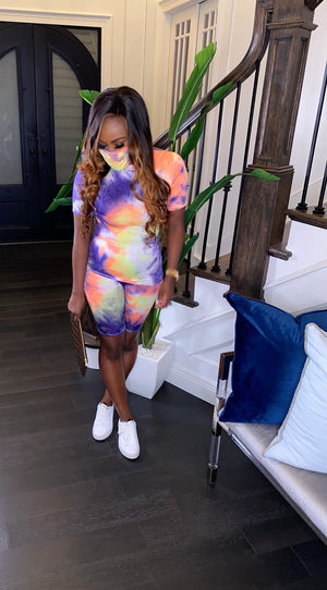 3 Piece Tie Dye Basic Short Set (Purple)