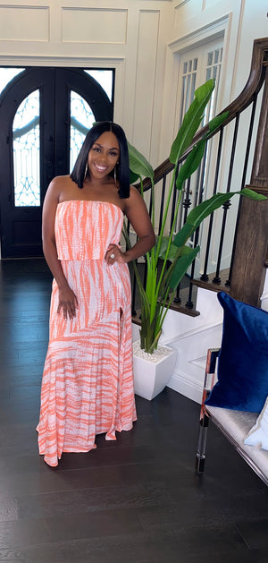 Tropical Girl Maxi Dress (Coral)