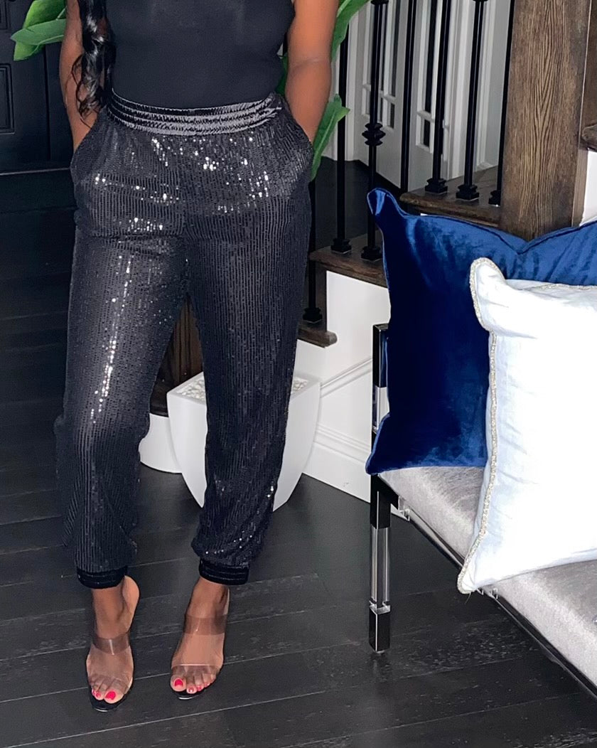 Sequin Joggers (Black)