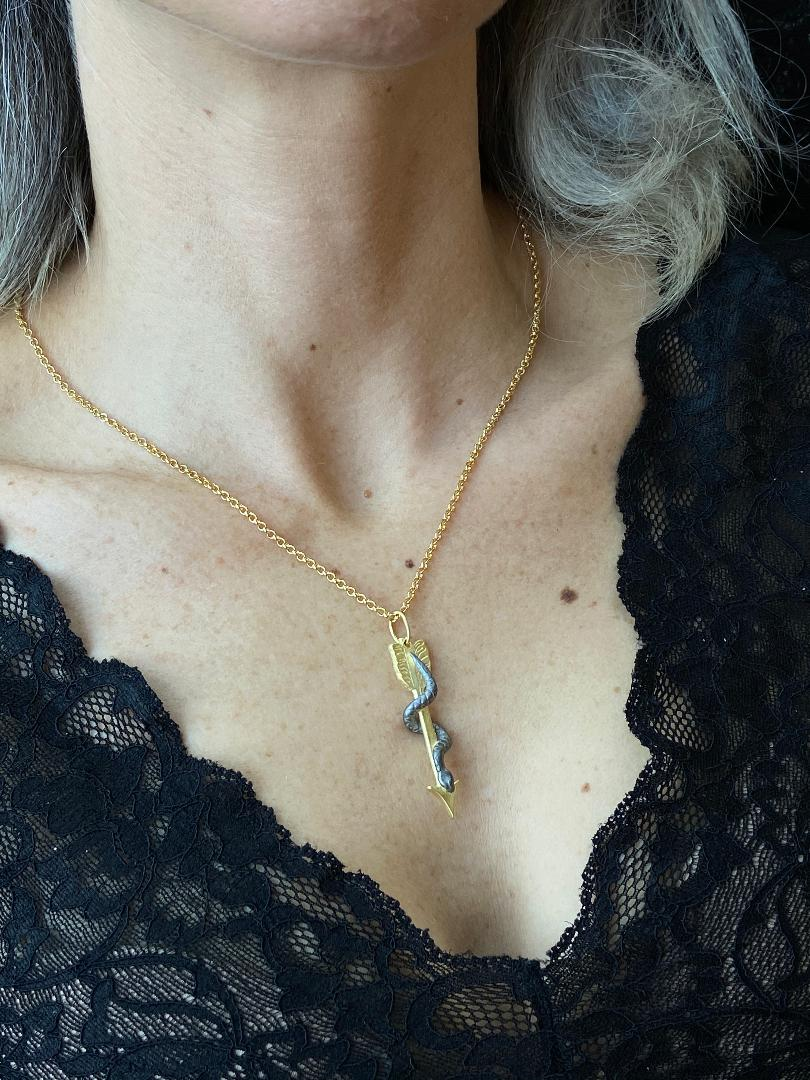 Snake Arrow Talisman Necklace, 18K Gold Plated and Sterling Silver - ShopSacredBarcelona