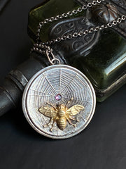 Spider Web Fly Necklace in Sterling Silver - ShopSacredBarcelona