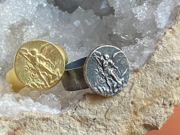 Saint Michael Ring, 18K Gold plated silver or Sterling silver - ShopSacredBarcelona