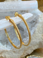 Snake Hoop Earrings with Ruby Gemstone Eyes, 18K Gold Plated or Sterling Silver - ShopSacredBarcelona