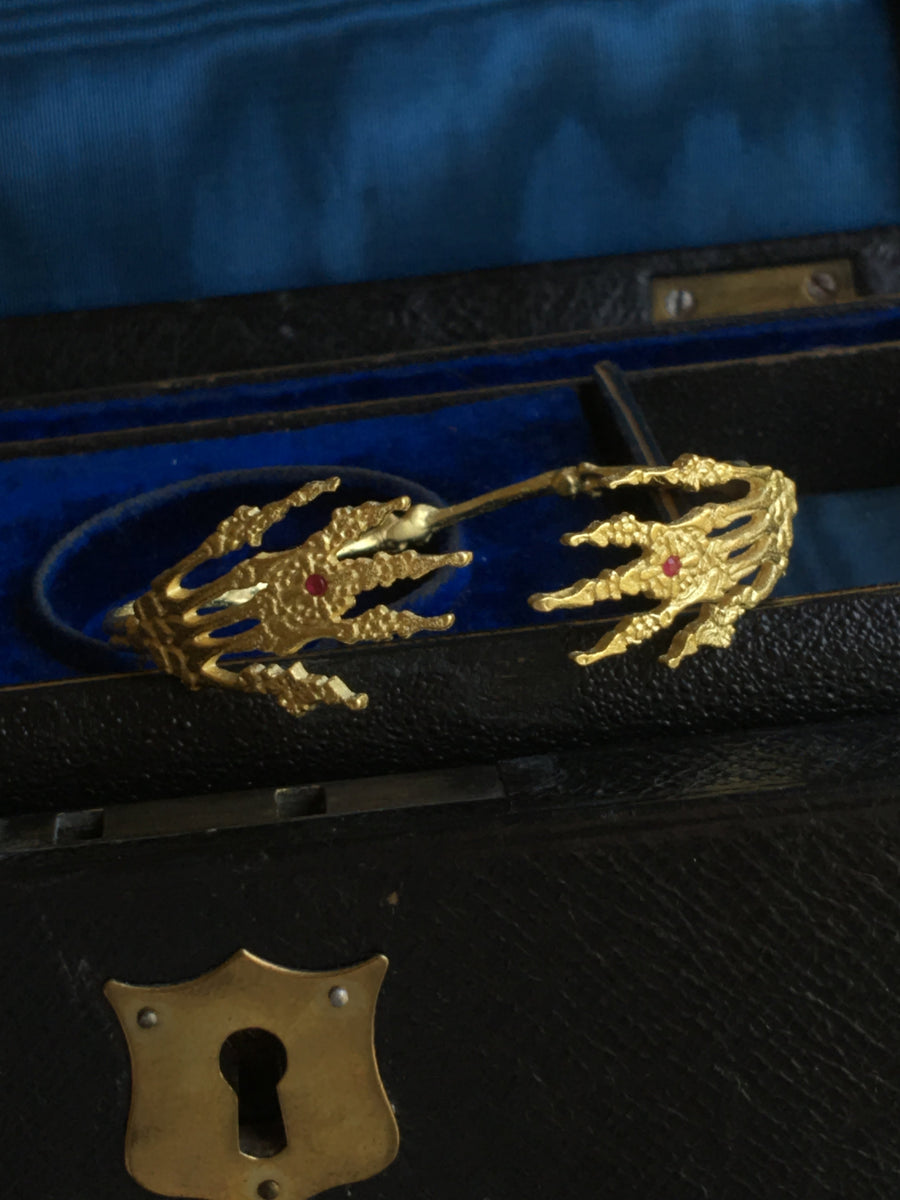 Skeleton Hands Bracelet, 18K Gold Plated with Ruby Gemstones - ShopSacredBarcelona