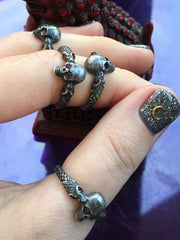 Silver Skull Ring with Serpents and Ruby Gemstone Eyes - ShopSacredBarcelona