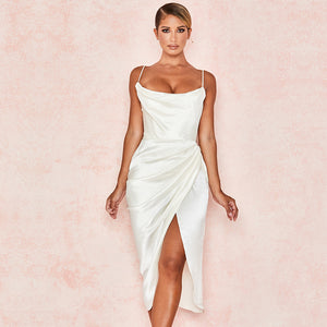elena split satin white dress scarlt.com