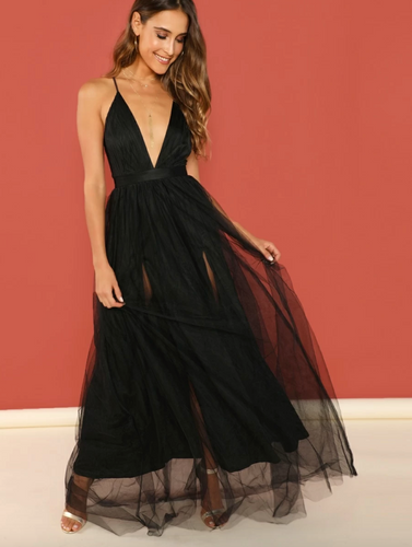 V-Neck Overlay Maxi Dress