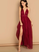 Load image into Gallery viewer, V-Neck Overlay Maxi Dress
