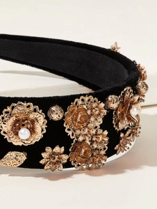 Gold Metallic Flower Headband